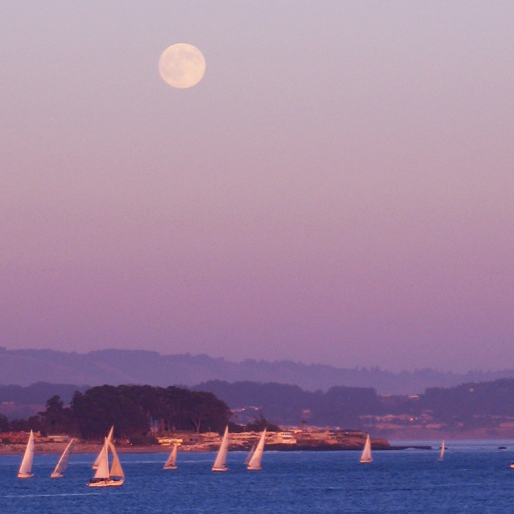 Sailboats with Full Moon