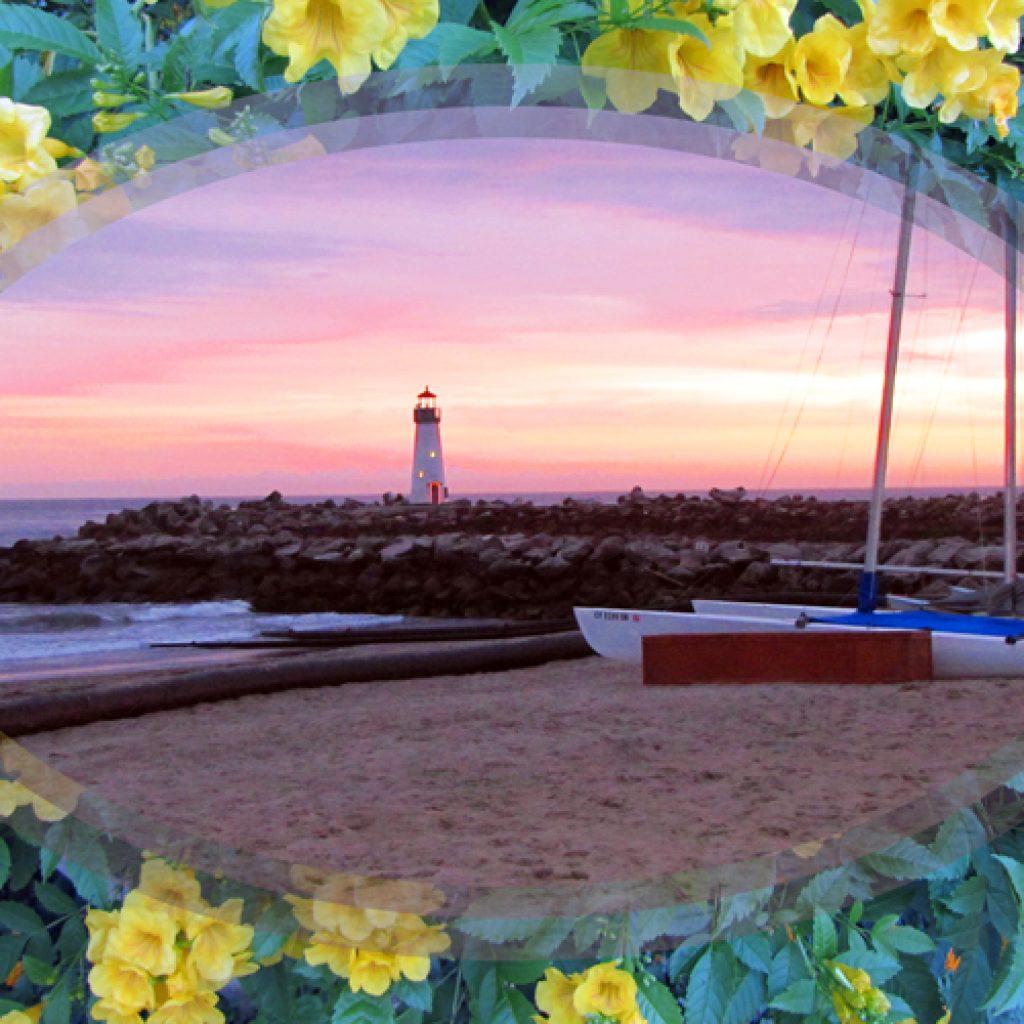 Floral Sunset Lighthouse